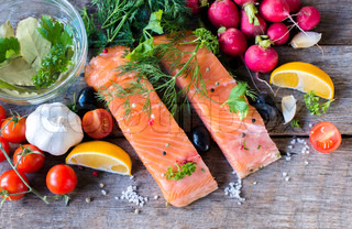 Salmon fillets from above
