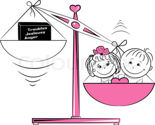 Vector illustration, loving man and a woman sitting on the scales