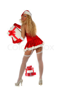 Santa girl with parcels