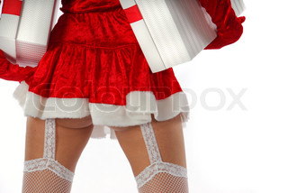 Santa girl with parcels