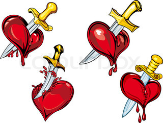 Cartoon hearts with dagger tattoos design