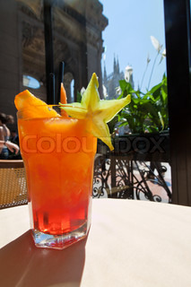 An Orange Campari in the Galleria Emanuele in Milan