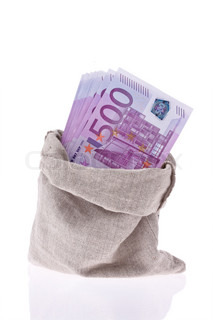 Many Euro banknotes of the European Union. State budget and debt