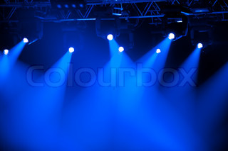 Blue stage spotlights