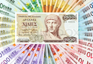 old greek drachma and euro cash notes. euro crisis