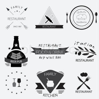 Label, logo or menu design for restaurant or bakery set