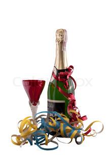 champagne og glas nytår serpentiner