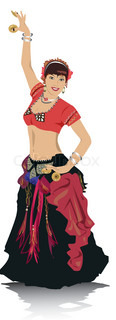 vector illustration belly dancing woman