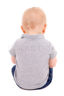 back view of little baby boy sitting isolated on white