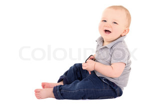 funny little baby boy toddler laughing isolated on white