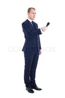 full length portrait of male reporter with microphone isolated on white