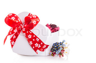 gift box ribbon red heart with flower petals