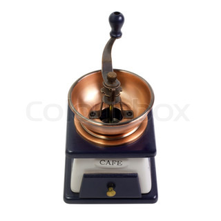 vintage coffee mill blue isolated on white background