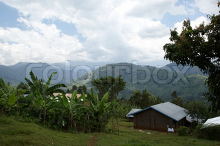 Overview of the hills in bududa, Uganda where the coffeefarmes fields and houses is.