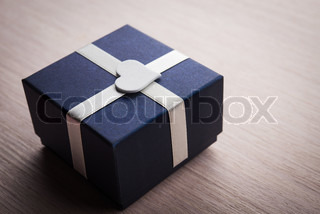 Gift box with white heart shape