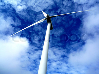 Windturbine and clouds. Tilted view.