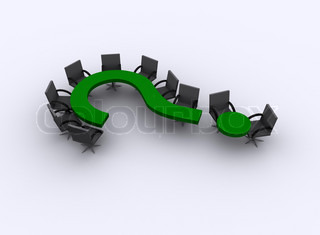 Green question mark serves as a table in a meeting room