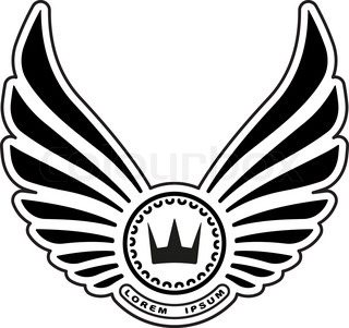 Heraldic design with wings and crown