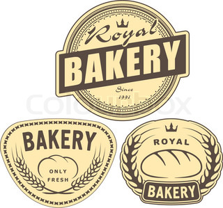 Set of bakery labels for design or logo