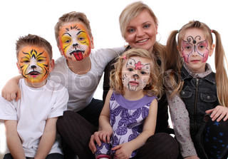 stylist painted kids faces of animals