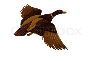 wooden flying duck made from several pieces of wood