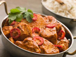 Dish of Chicken Chili Tikka Masala with Fragrant Basmati Rice