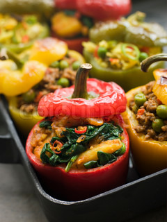 Pan of Bell Peppers stuffed with Keema Sag Aloo and Vegetable Pilau