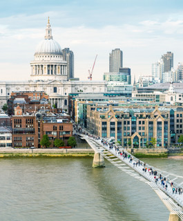 Magnificence of Saint Paul Cathedral and Millennium Bridge, London
