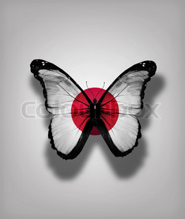Japan flag butterfly, isolated on flag background
