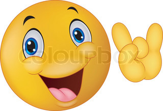 Emoticon smiley cartoon giving hand sign