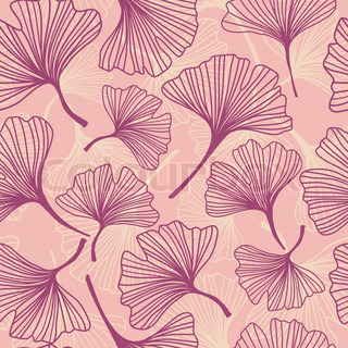 Seamless decorative background with ginkgo biloba