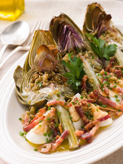 Plate of Roasted Globe Artichokes with Pancetta Egg and Garlic Breadcrumbs