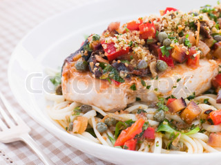 Plate of Baked Sicilian Swordfish with Linguine