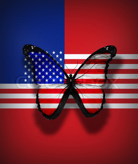 USA flag butterfly, isolated on flag background