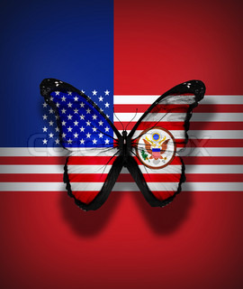 USA flag butterfly with coat of arms, isolated on flag background