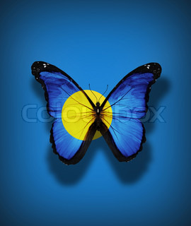 Palau flag butterfly, isolated on flag background