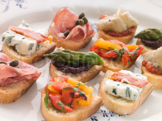 Close up of Plated Selection of Crostini