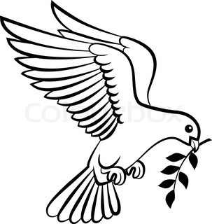 Cartoon dove birds logo for peace concept and wedding design - Comment dessiner une colombe ...