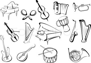 Musical instruments icons in sketch style