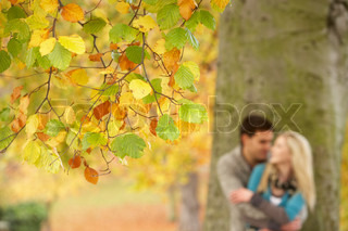 Shallow Focus View Of Romantic Teenage Couple By Tree In Autumn Park