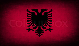 Flag of Albania with old texture. Vector