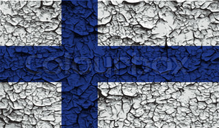Flag of Finland with old texture. Vector