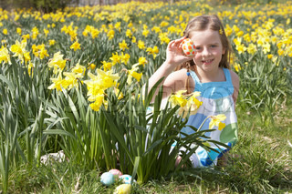 Girl On Easter Egg Hunt In Daffodil Field