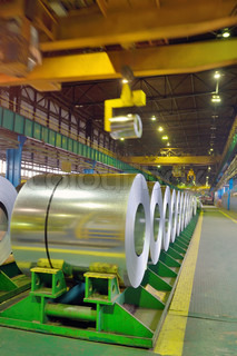 rolls of steel in a steel plant