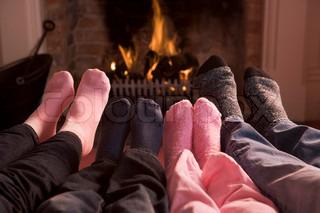 Billede af 'hyggeligt, Vinter, pejs'