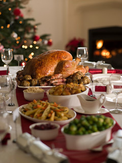 A sumptious Christmas dinner with roasted  turkey