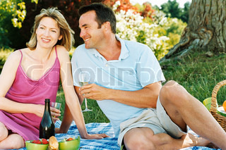 Image of 'couple, champagne, picnic'