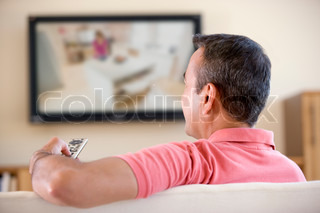 Image of 'tv, flat screen, remote control'