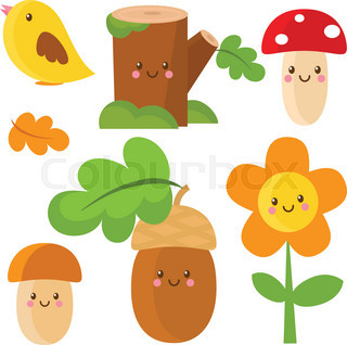 Set of woodland characters. Vector illustration