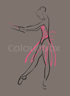 vector sketch of girl's ballerina